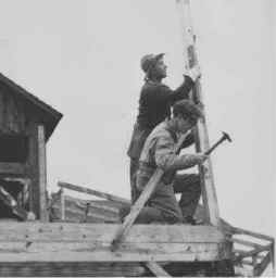 Founders Al Maissel and John Grahame working on the barn in May 1947