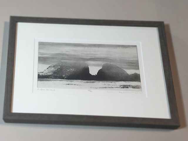 Beautiful limited edition etching by Norman Ackroyd framed in a simple narrow frame and shown at its best by using the latest non-reflective glass #normanackroyd #pictureframes #nonreflectiveglass