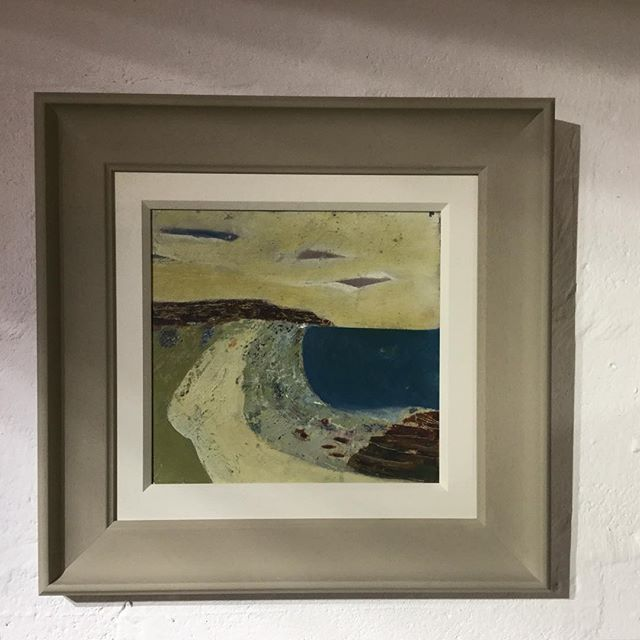 Lovely painting on board framed with a hand painted slip in James White and frame in Light Grey by @farrowandball