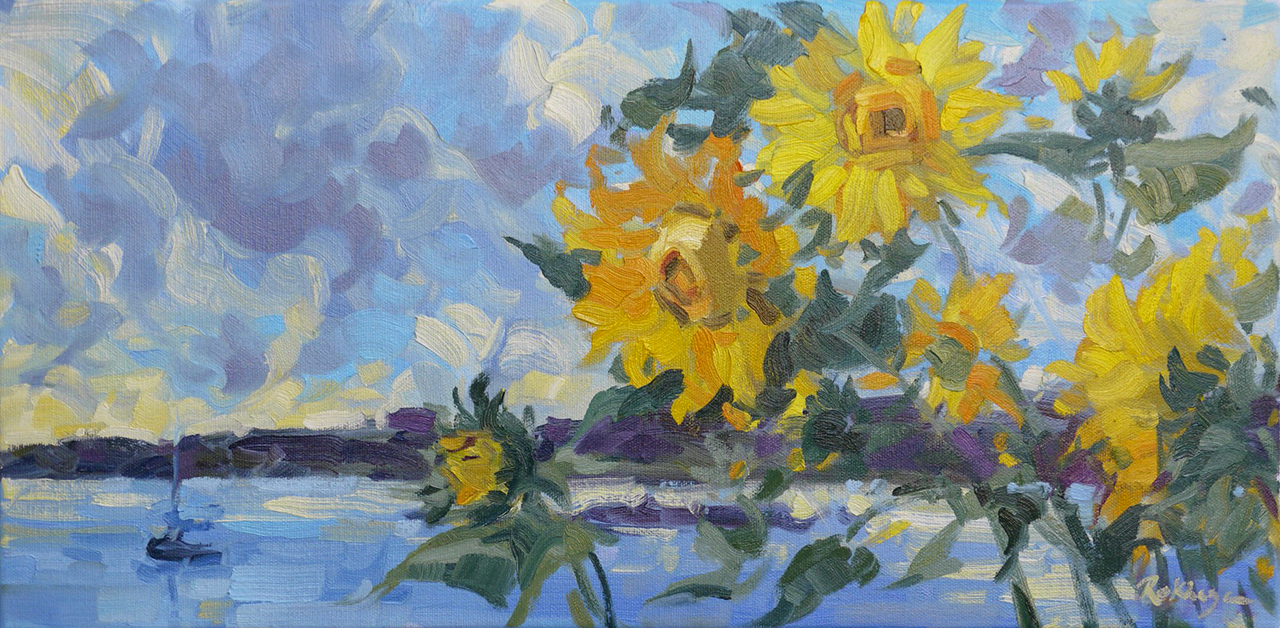 September Sunflowers & Sea