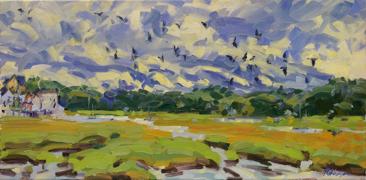 Marsh View with Birds