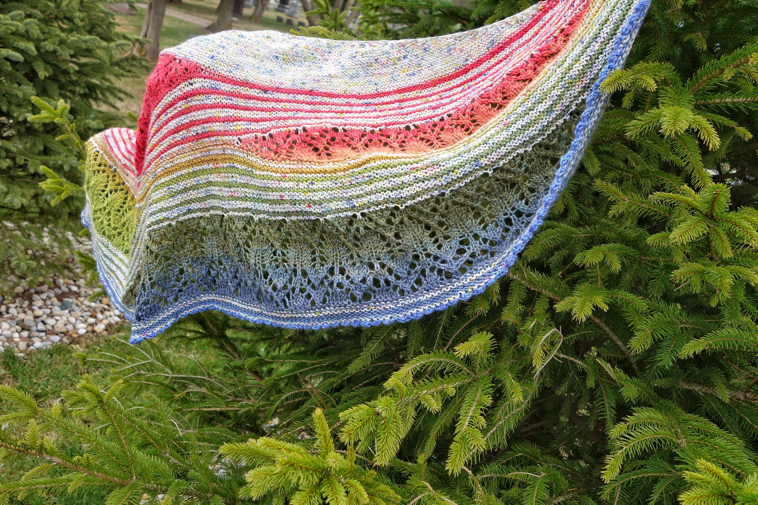 Waiting for Rain shawl in a rainbow gradient