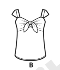 Line Drawing of a shirt with a tie in the middle and cap sleeves