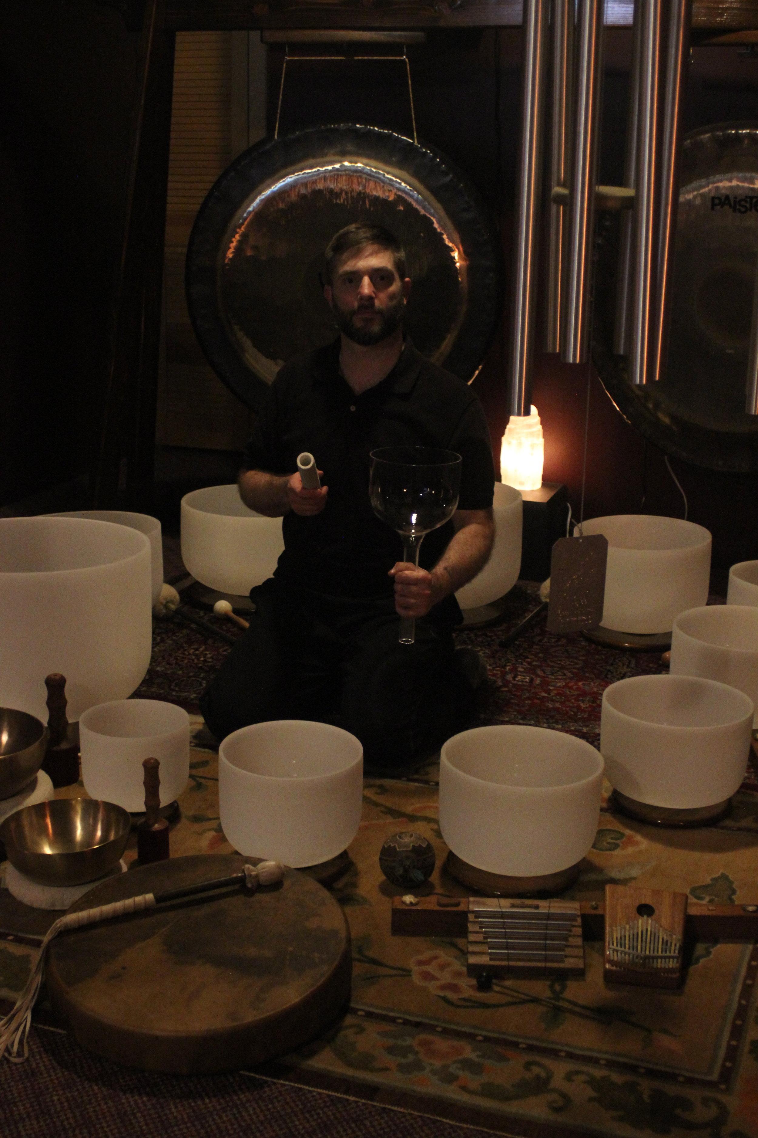 crystal singing bowls , gongs , wind chime , shaman drum , tibetan bowls.