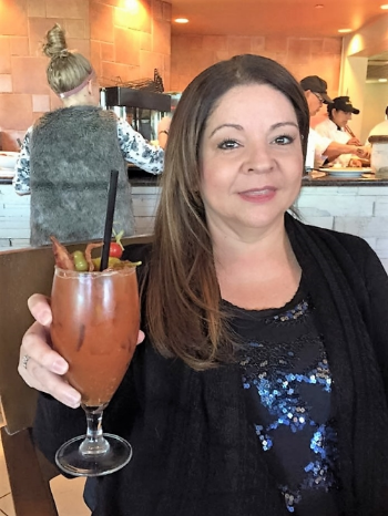 """Jamie Alvear of  The Drunken Diva , doing what she does best; """"Celebrating food, drinks, and fun!"""""""