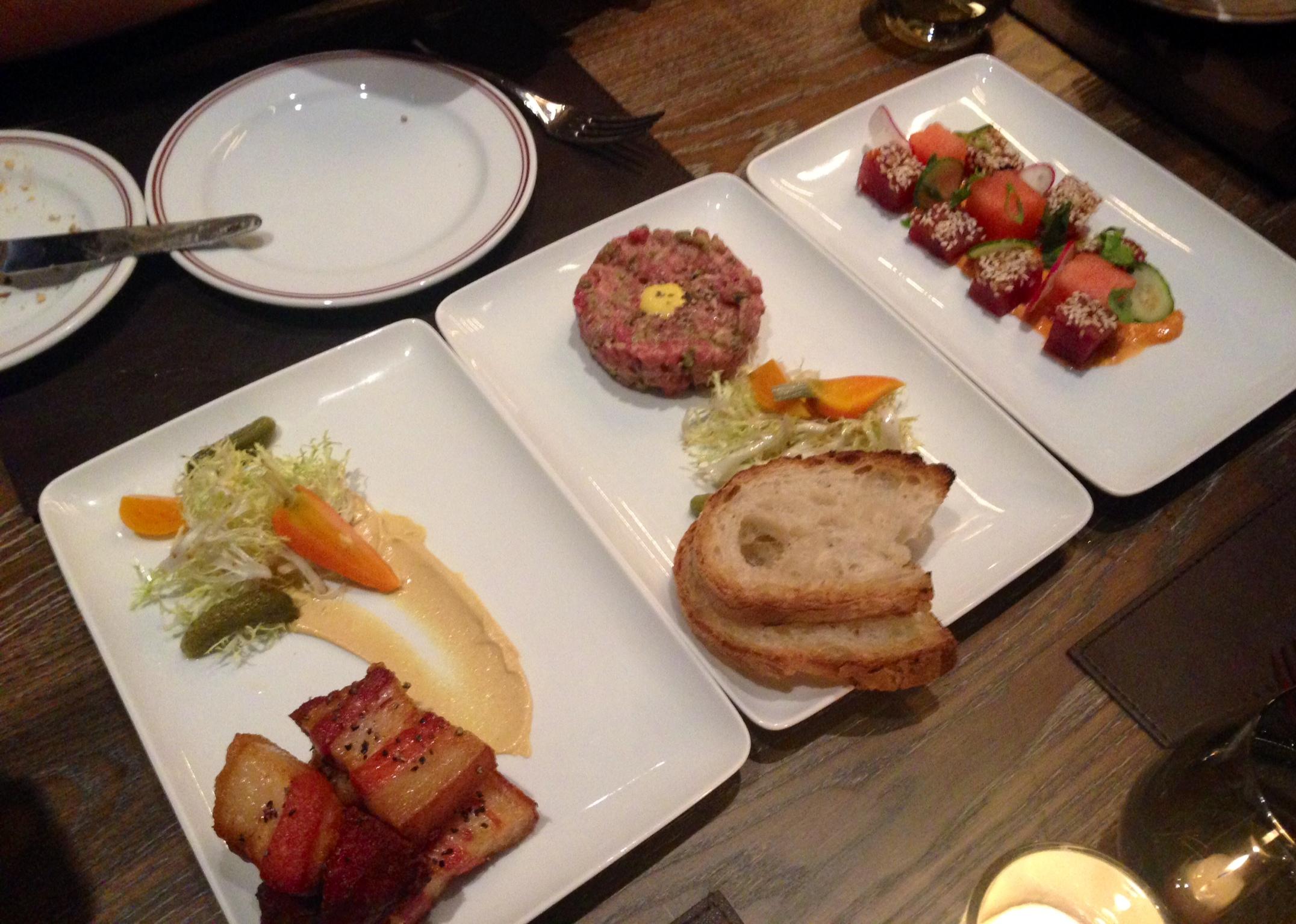 (L-R) Rillons croustillants, steak tartare, tuna crudo