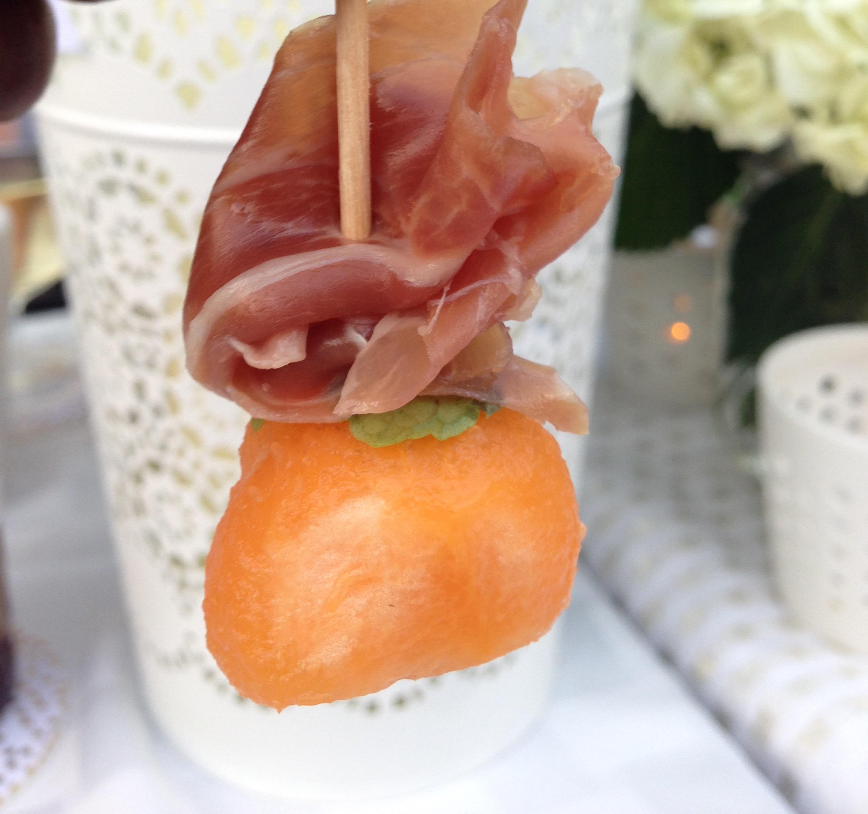 Delicious mini prosciutto, mint and melon skewers made by Laetitia.