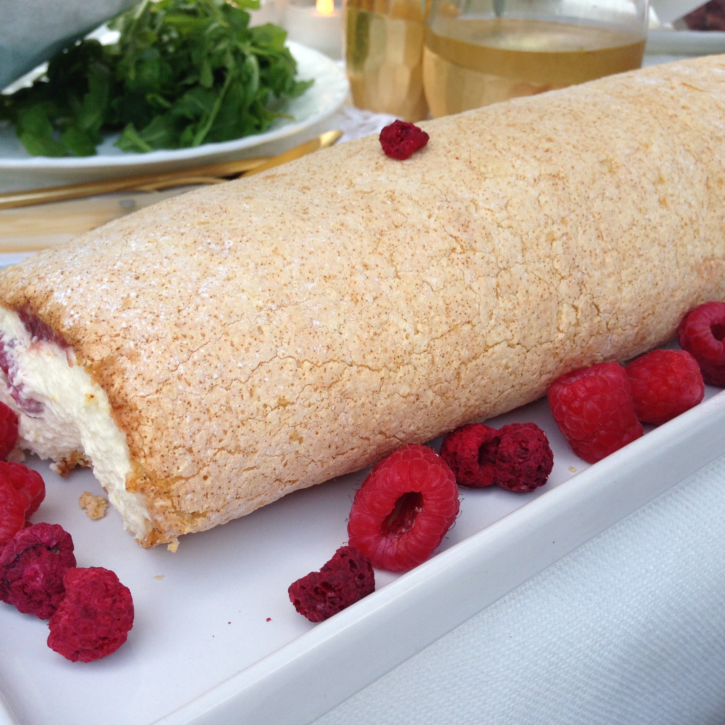 Cecilia's incredible raspberry and rose roulade.