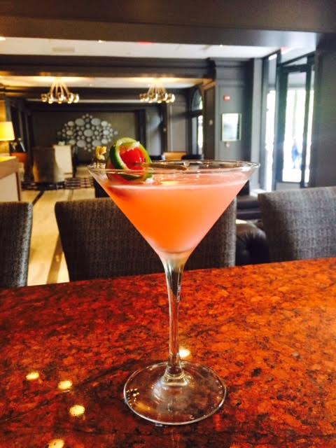Photo provided by The Melrose Hotel                                                                                       'The Pink Lady'                          ( Bubble gum infused vodka, homemade sweet and sour mix,            splash of cointreau, egg white and topped off with a lime peel and cherry )