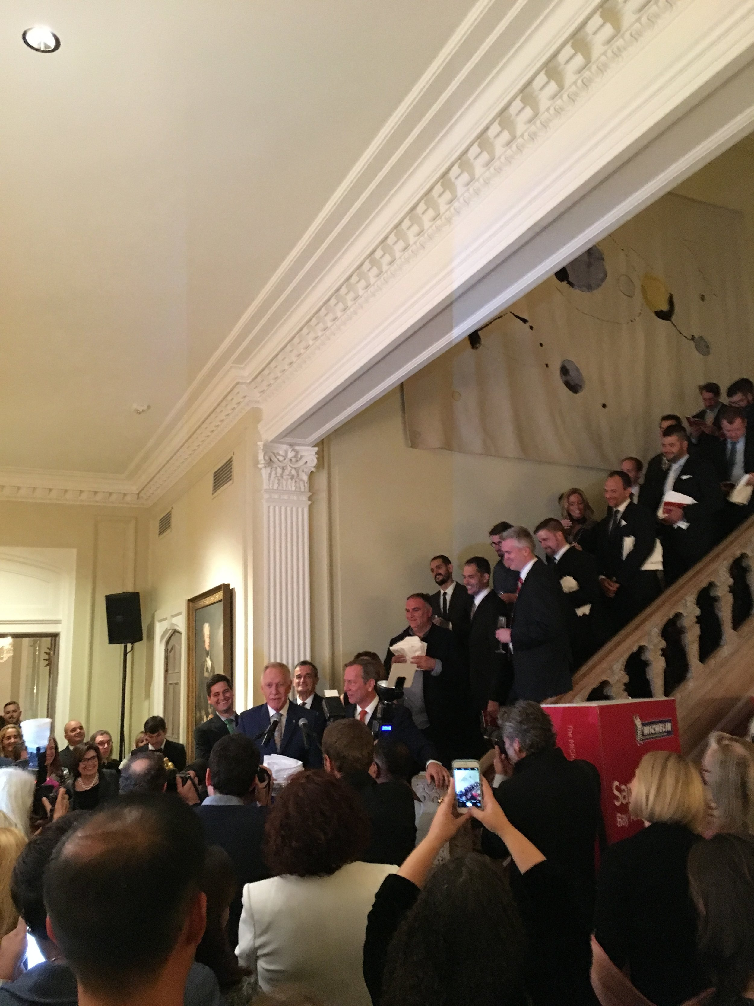 All of the Michelin-starred Chefs with Chef Patrick O'Connell at the mic.