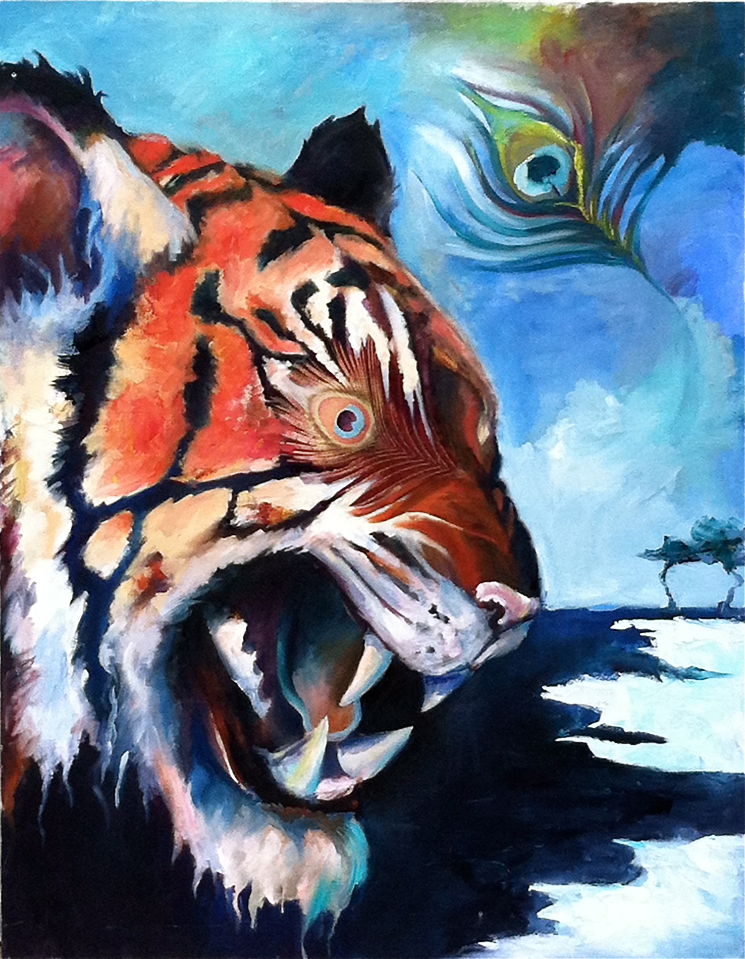 "The Tyger  oil on canvas  60"" x 40""  $700"