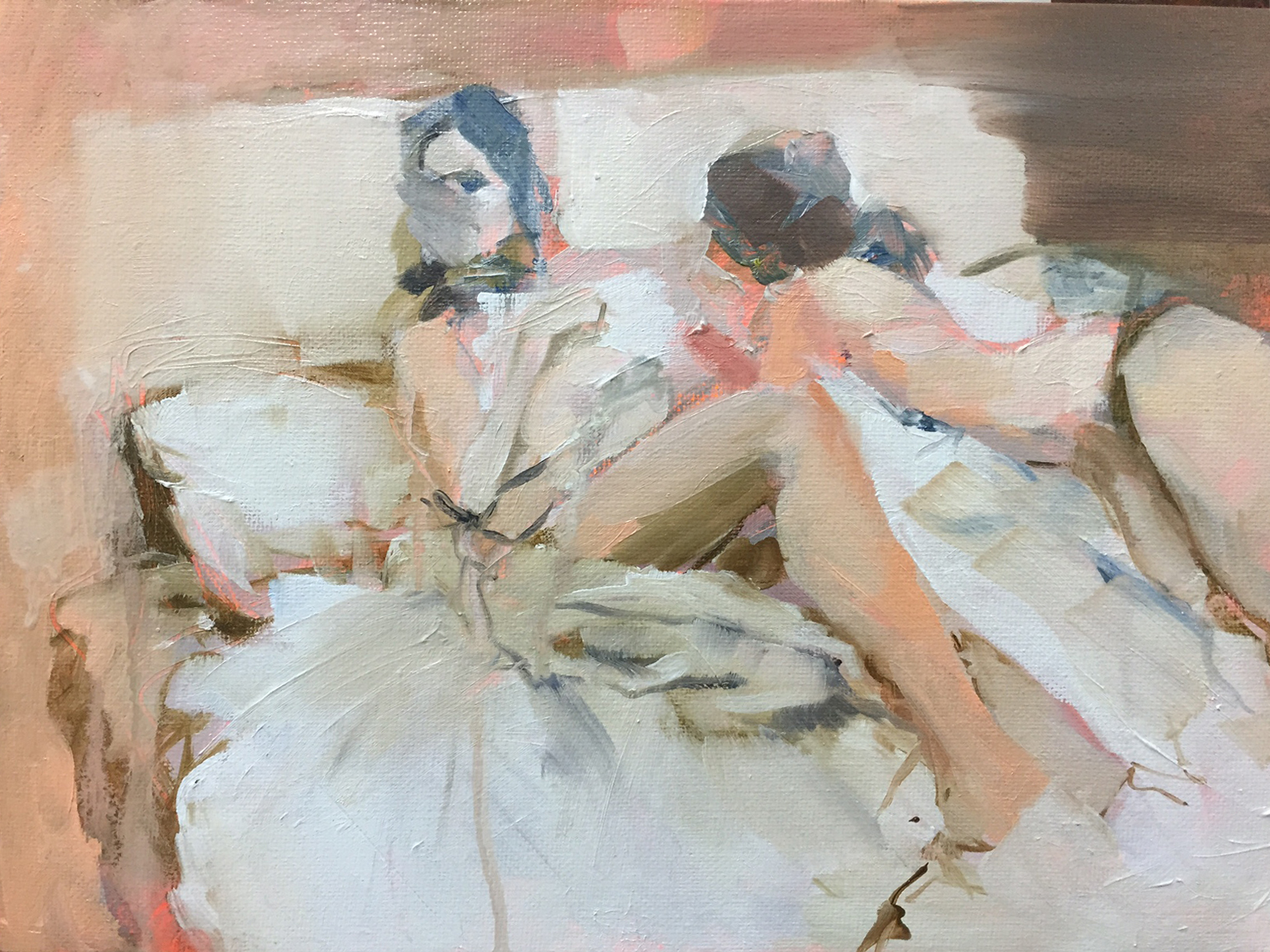 """Study of Michael Carson painting """"Gossip""""  oil and acrylic on canvas board  2016  NFS"""
