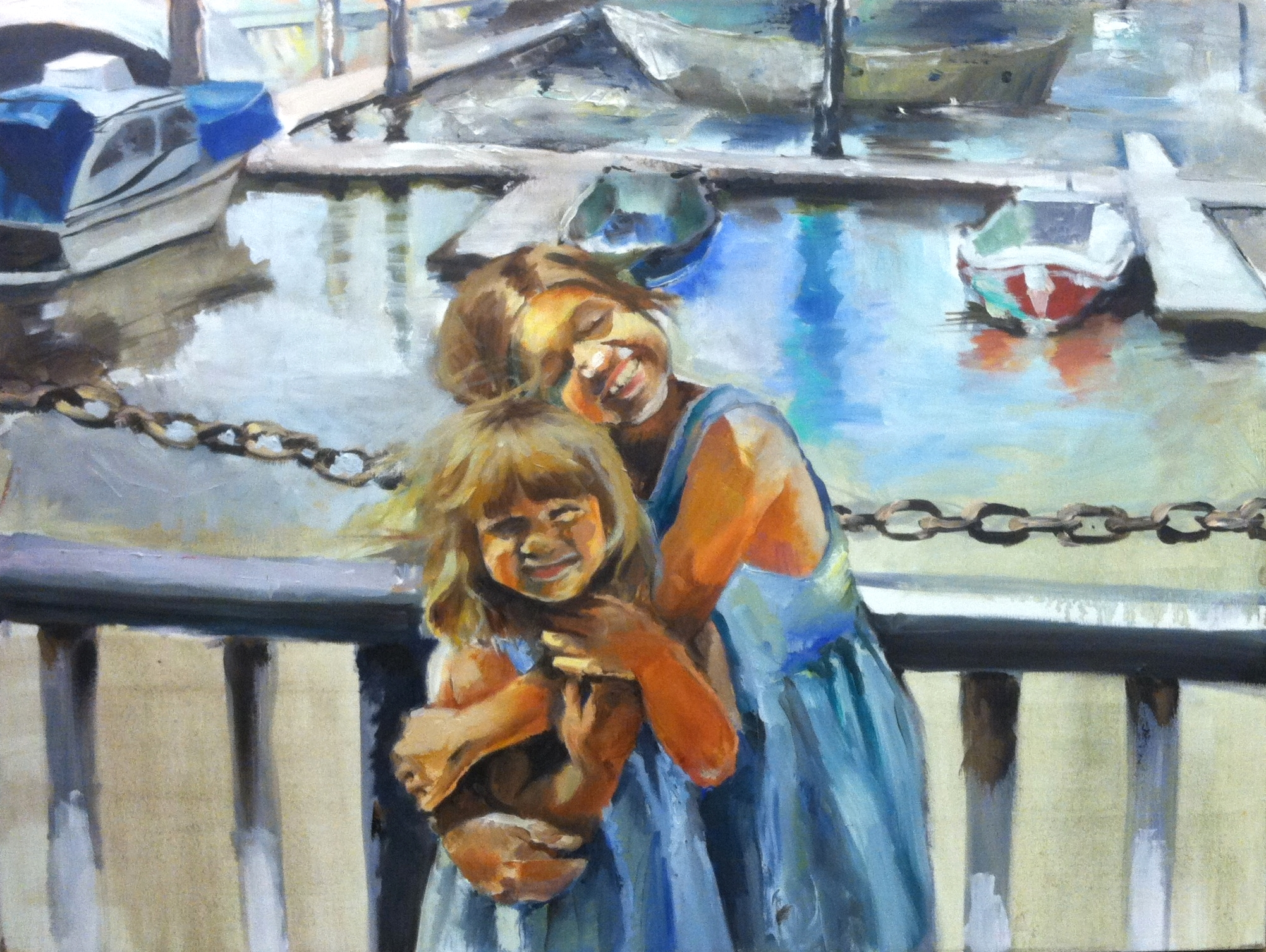 "Sisters by the Marina  (2012)  Oil on canvas  30"" X 40""  NFS"