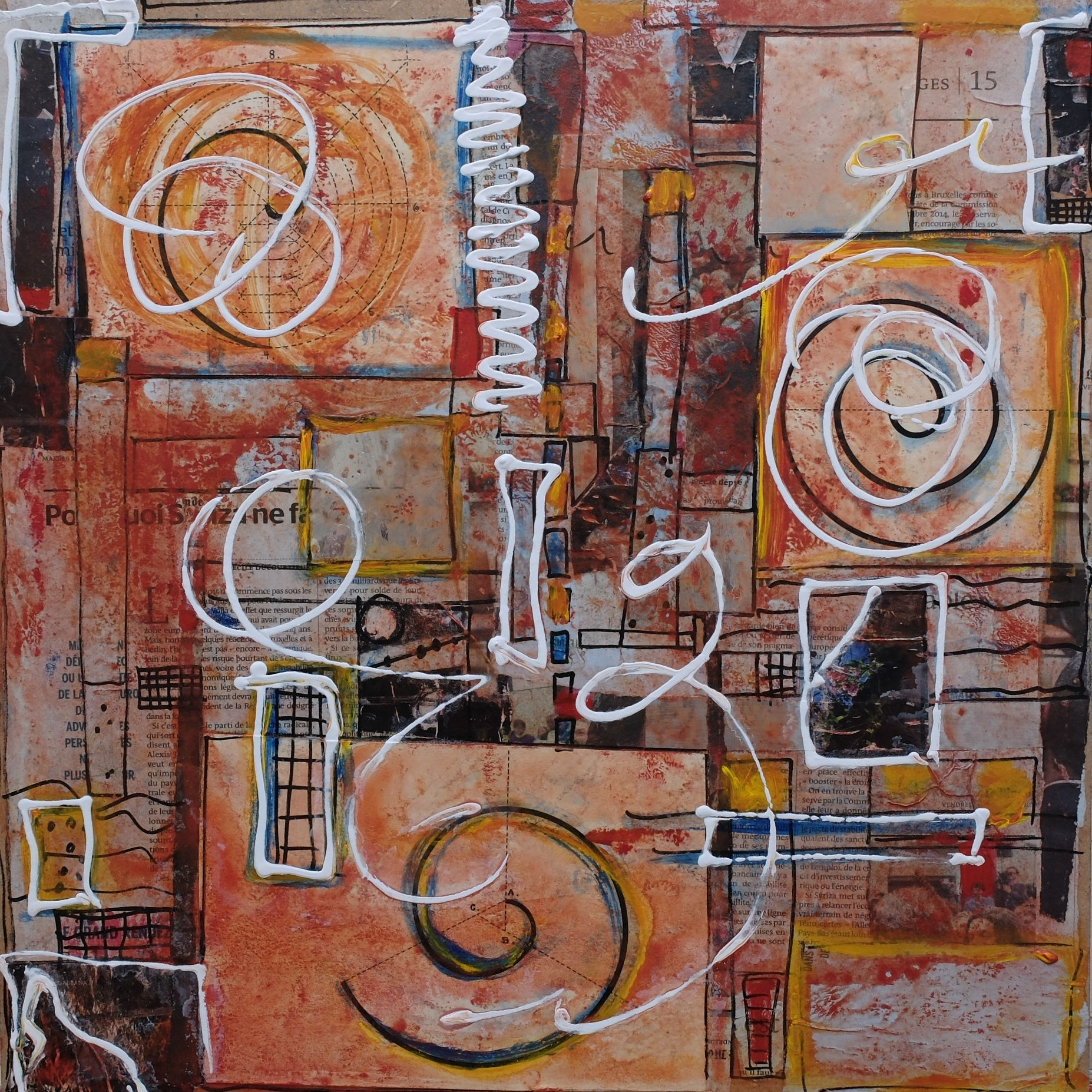 the spirals of Mr.Gerard; mixed media on wood; 40x40; 2015