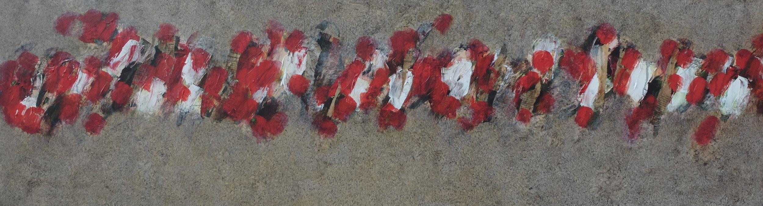 walk; 35x130; mixed media on canvas; 2014