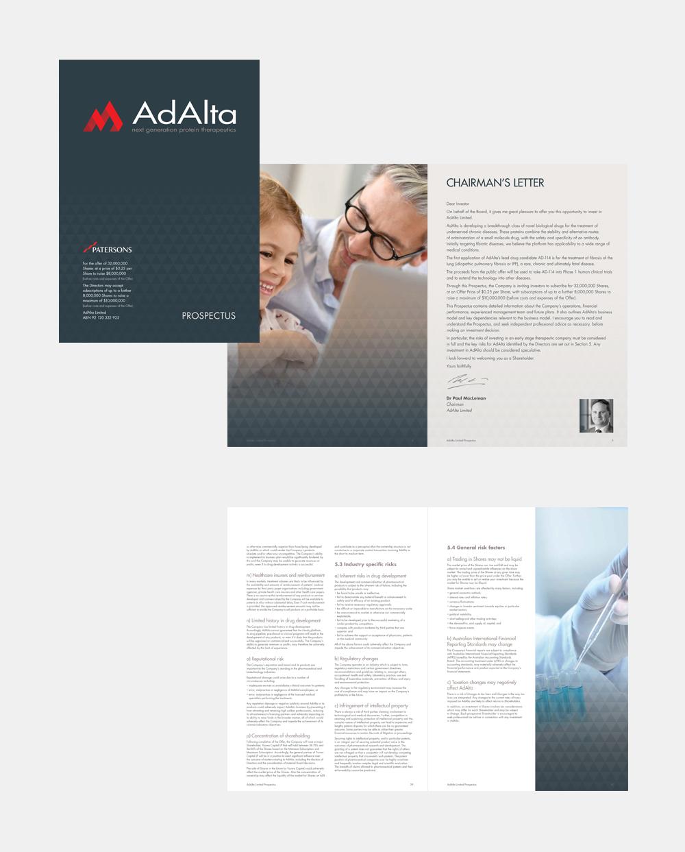 Gray Design AdAlta prospectus design