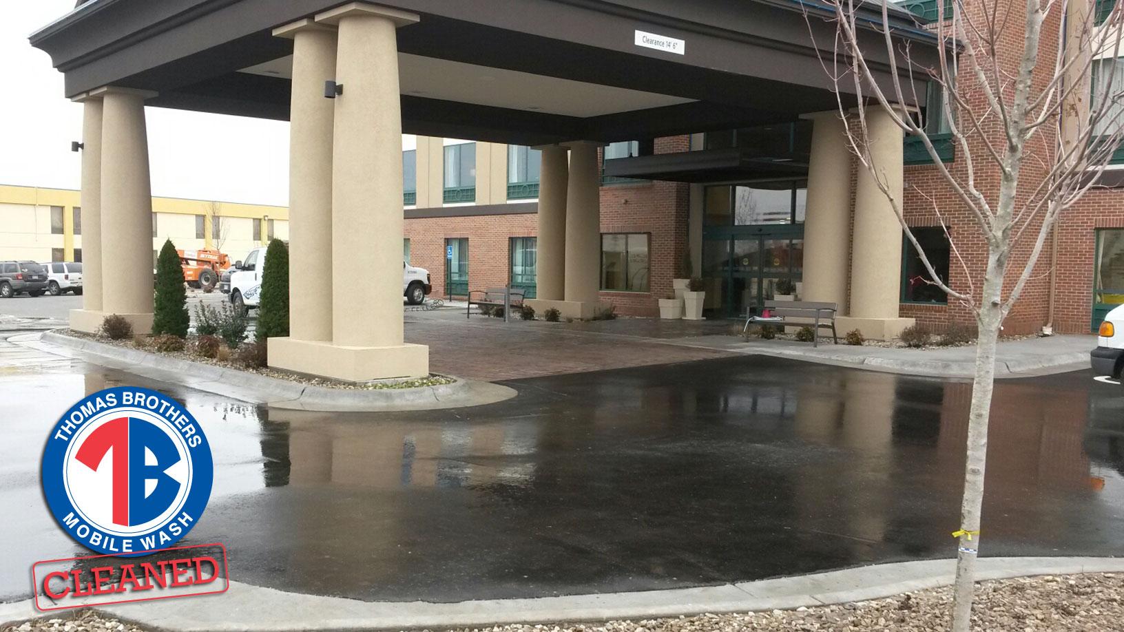 Power washing business parking lot in Kansas - Thomas Brothers Mobile Wash