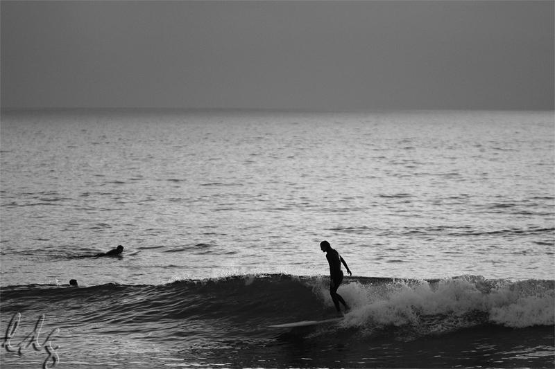Julie surfing the Oceanside Pier.  Photo: Lucia Griggi