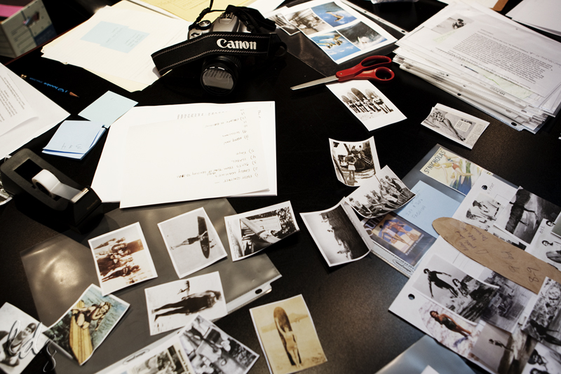 Behind the scenes at the California Surf Museum co-curating the Women On Waves exhibit. Photo: Lucia Griggi