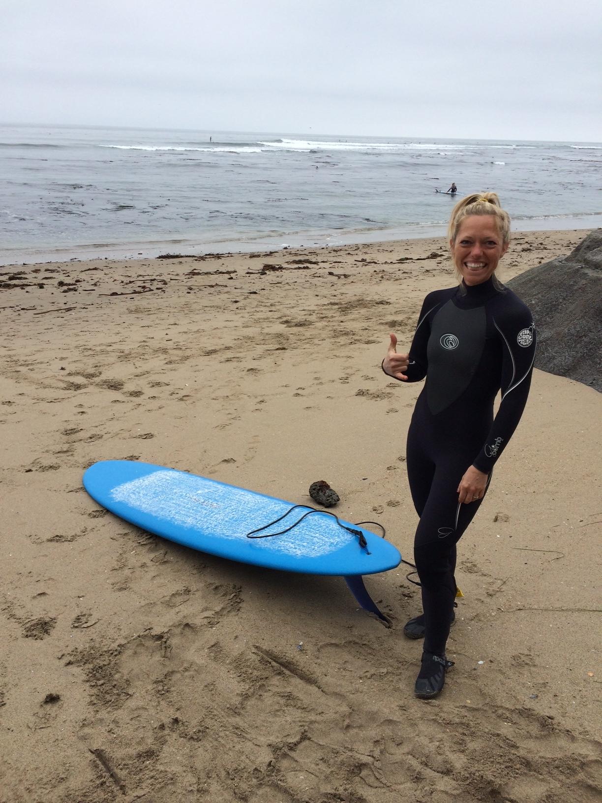 Pamela ready for her lesson in Santa Cruz.