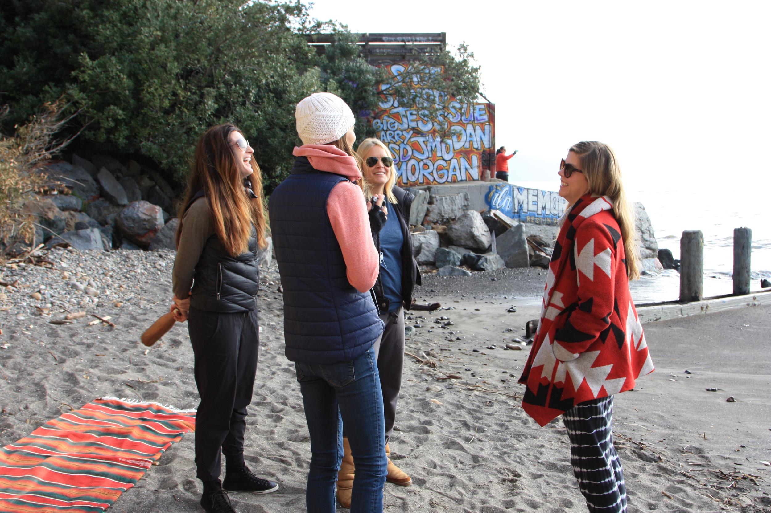 Beach talk before surf.