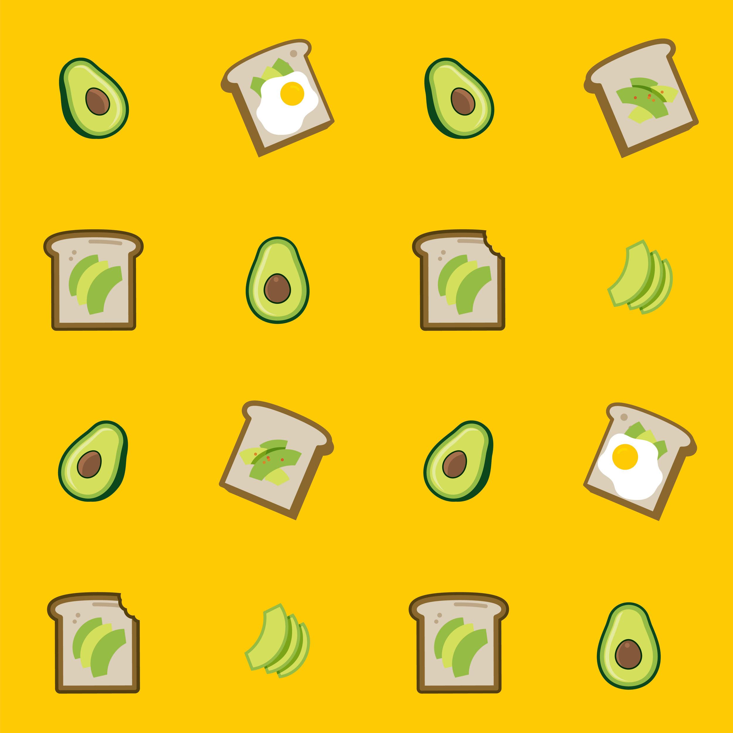 Avocado toast pattern in yellow