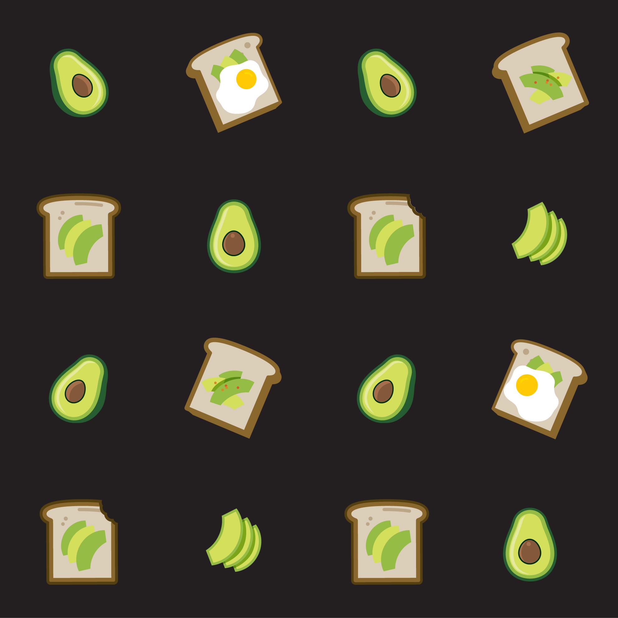 Avocado toast pattern in black