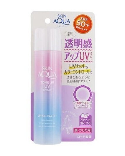 SKIN AQUA TONE UP SPRAY (JAPAN)  I love this one for my face and how it even outs your complexion - the famous one is the original blue one (without the tone up) but I like this one better - smells nice too - no alcohol smell