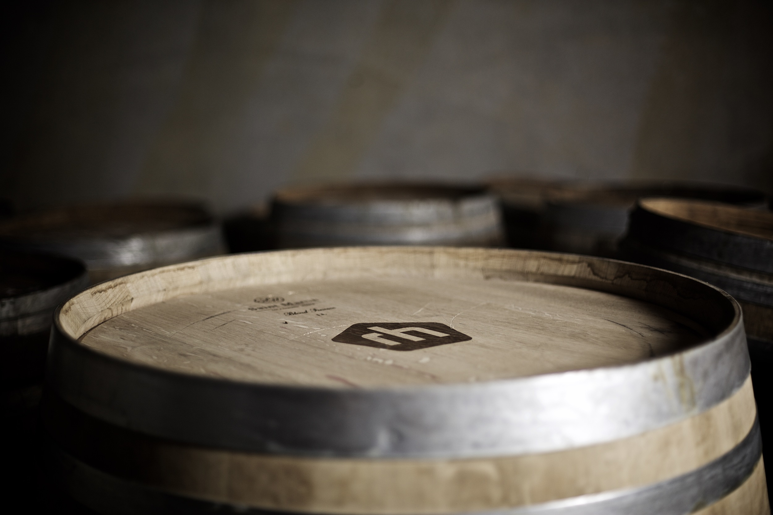 Barrels piled up in the new winery