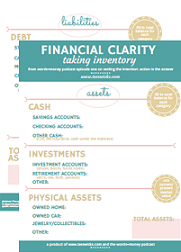 Get the Financial Clarity (take inventory) worksheets from the Words and Money Podcast.