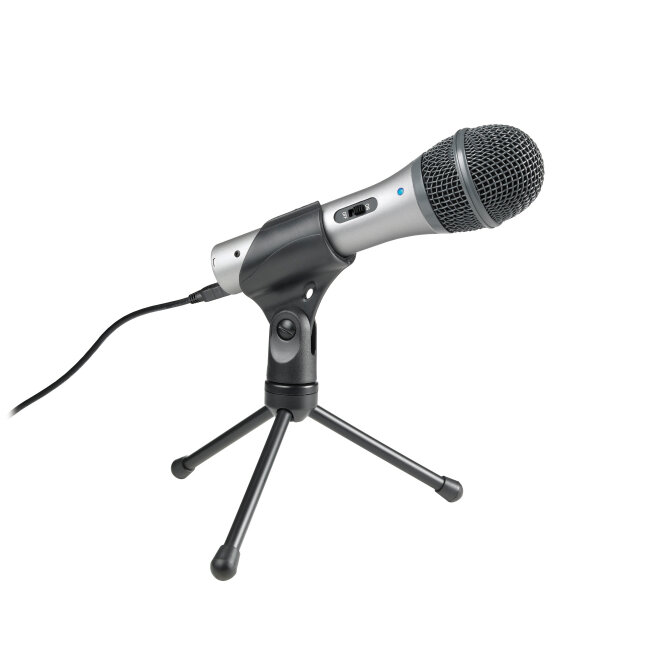 Microphone -    Audio-technica ATR2100-USB    Don't let the fancy name or the super reasonable price fool you. I've done a LOT of podcast recordings, and this microphone is by far the best one I have found. No need to go super fancy high-priced to get good audio quality!