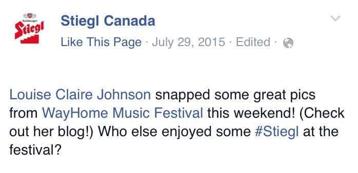Louise Johnson x Stiegl x WayHome Music and Arts Festival x Radler