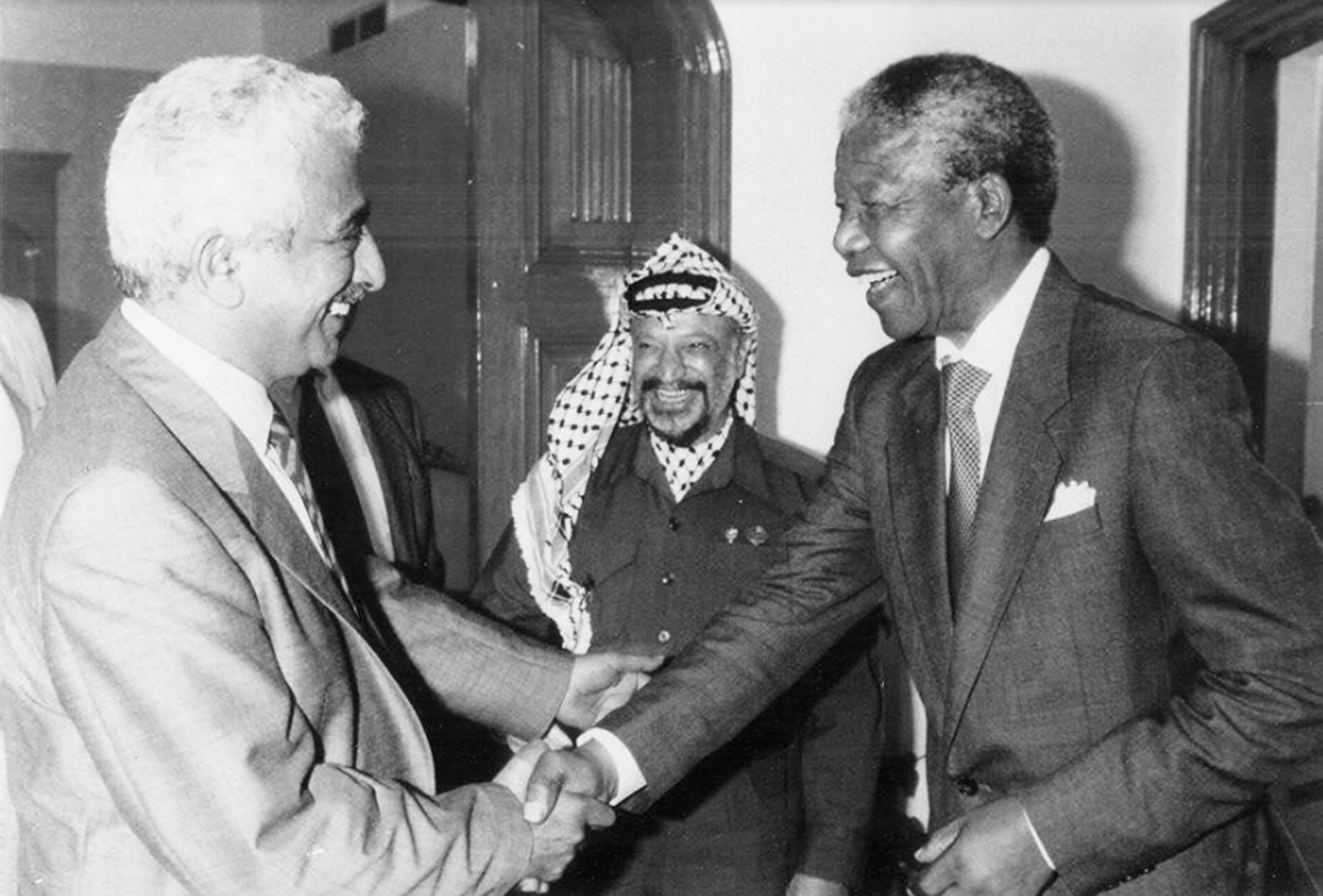 From left to right: My great-uncle Suileyman Najjab, Yasser Arafat, Nelson Mandela