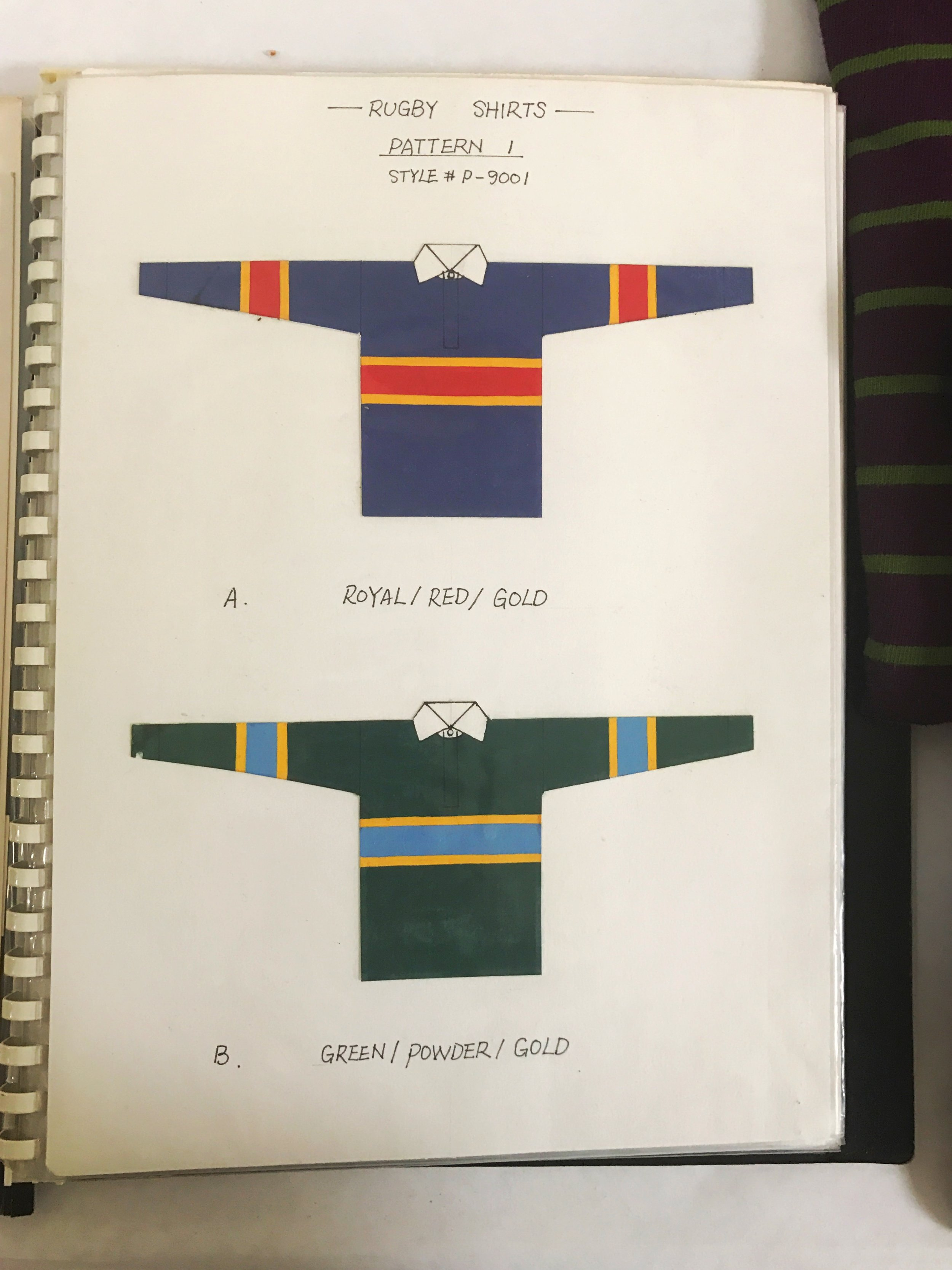 Hand-painted specs sheet for the earliest rugby shirts.