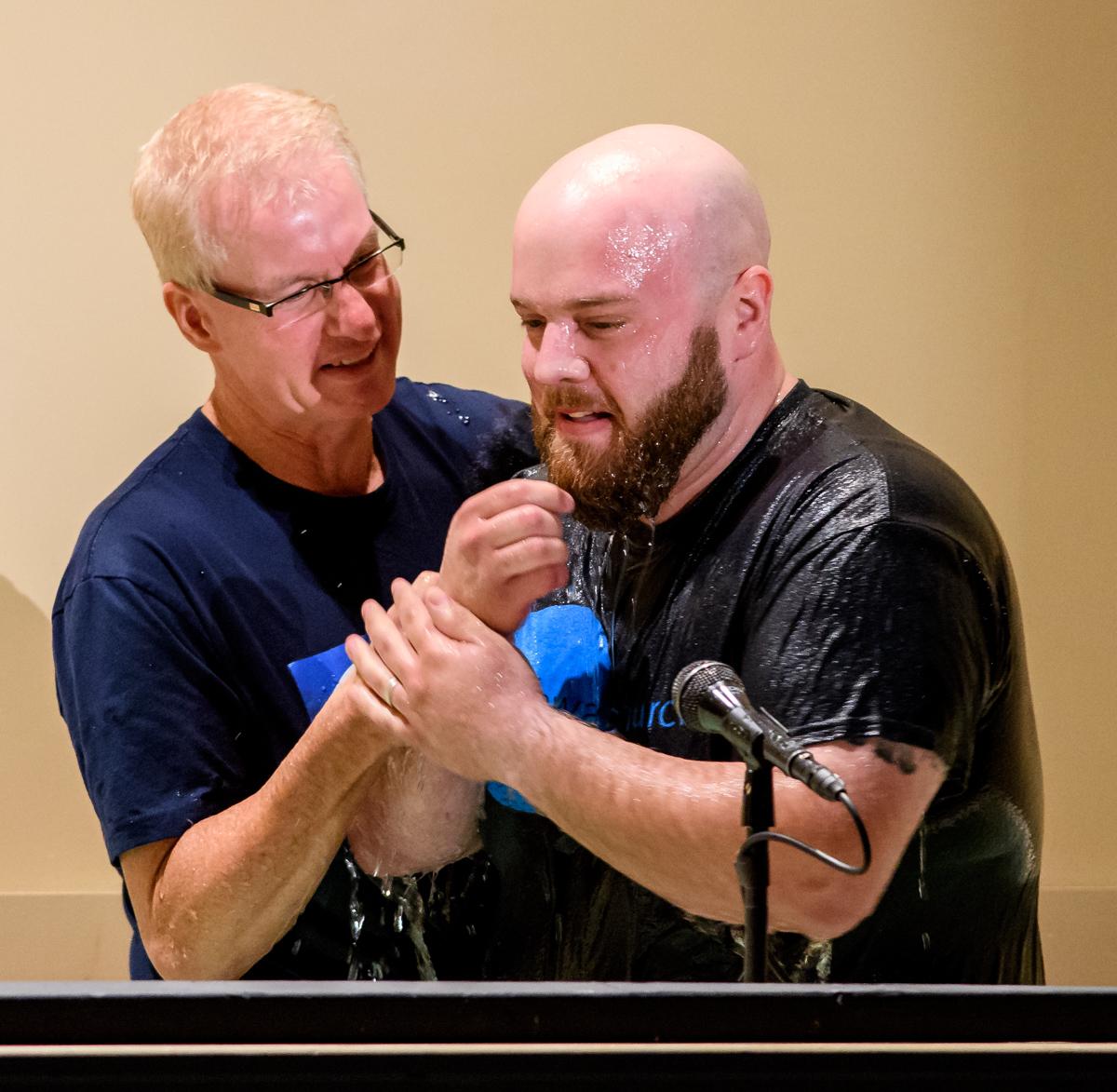Pastor Jeff baptizes Brandon Fowler on Easter Sunday.