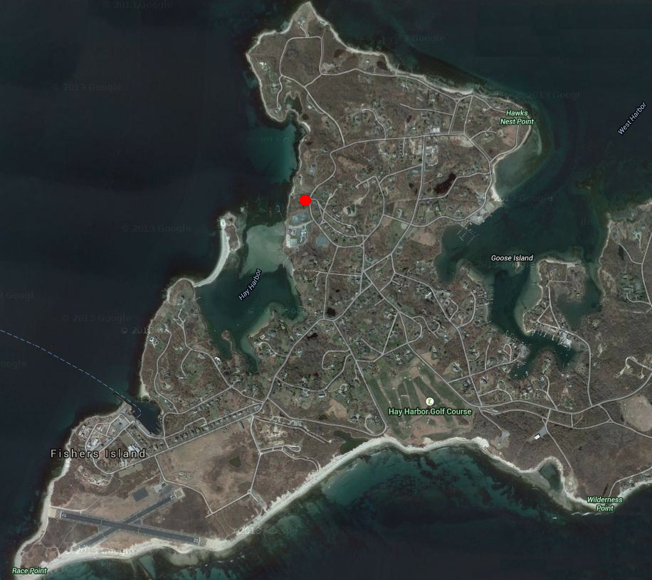 The red dot marks the location of the house.
