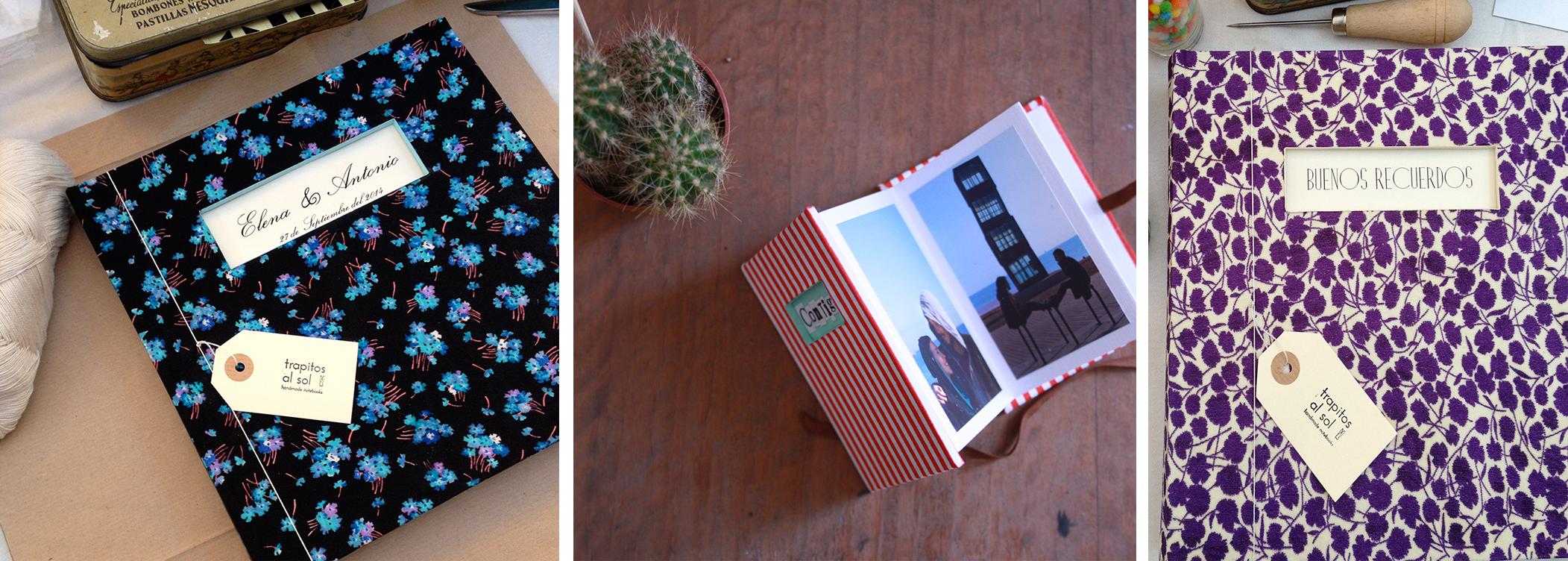 Quaderns i àlbums de fotos de Trapitos al sol folrats amb peces de vestir antigues.