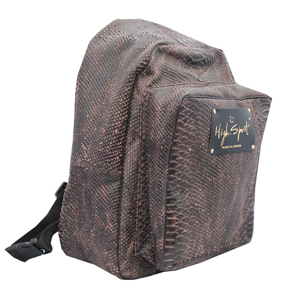 High Spirit Bags Brown Snake Backpack F.png