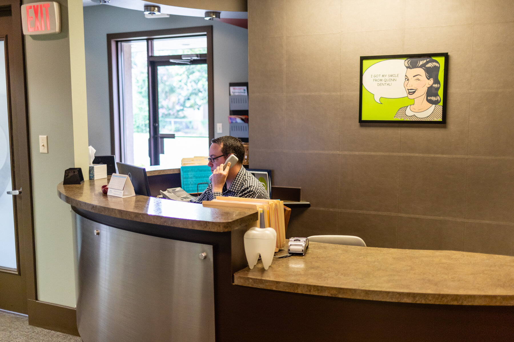 Jamie greets clients, sets appointments and takes care of payments.