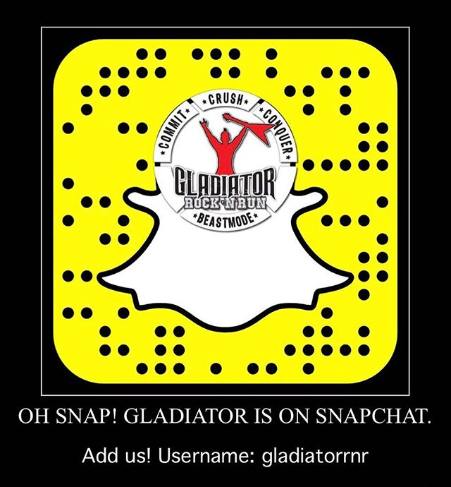 Follow us on Snapchat! Username: gladiatorrnr  There may be a sneak peak at Gladiator Rose Bowl participant shirts. You'll just have to follow us to see!  #gladiatorrocknrun #gladiatorevent #gladiatorrocknrun2017 #gladiatorrosebowl #eventsneakpeaks