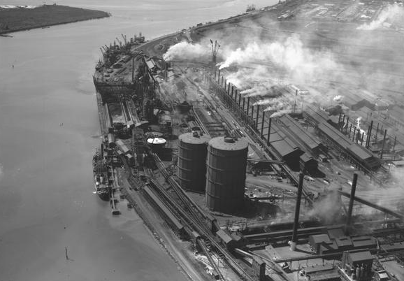 The BHP in Newcastle was a major customer during this period, not least for Varley's exceptional aluminium work. Image source: nla.gov.au.