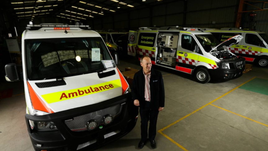 Varley Group Managing Director Jeff Phillips inspects the NSW Ambulance fleet production.
