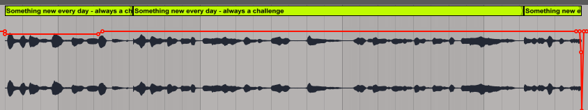Section of audio showing two edit points