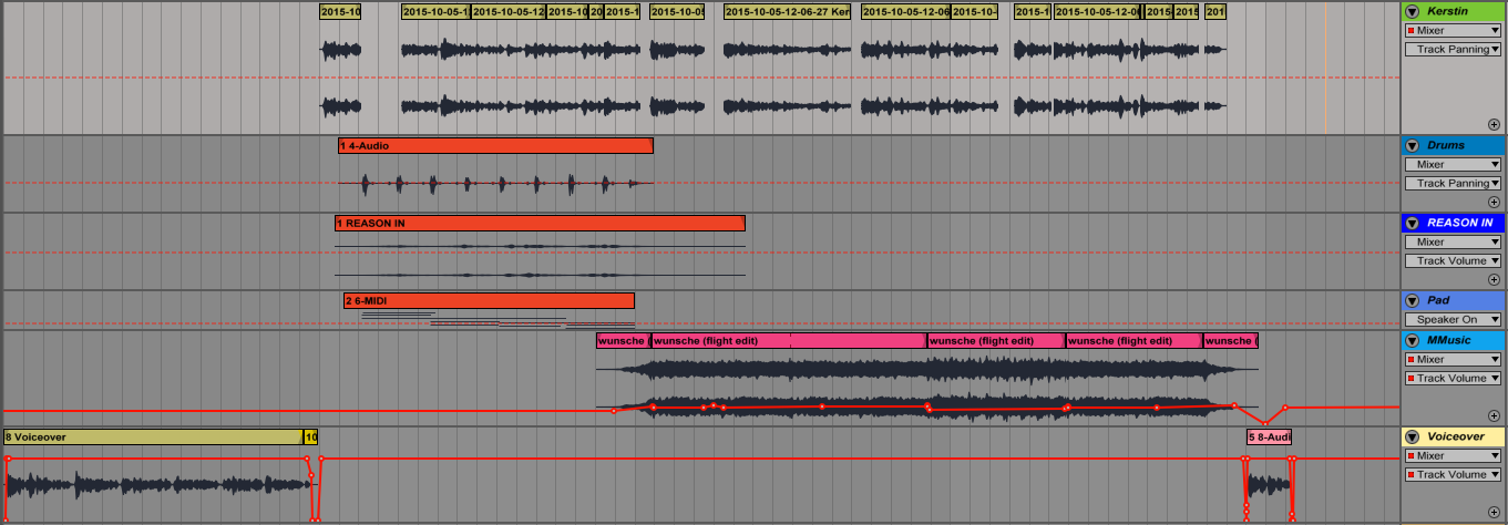 Example with two musical elements underneath the interview audio