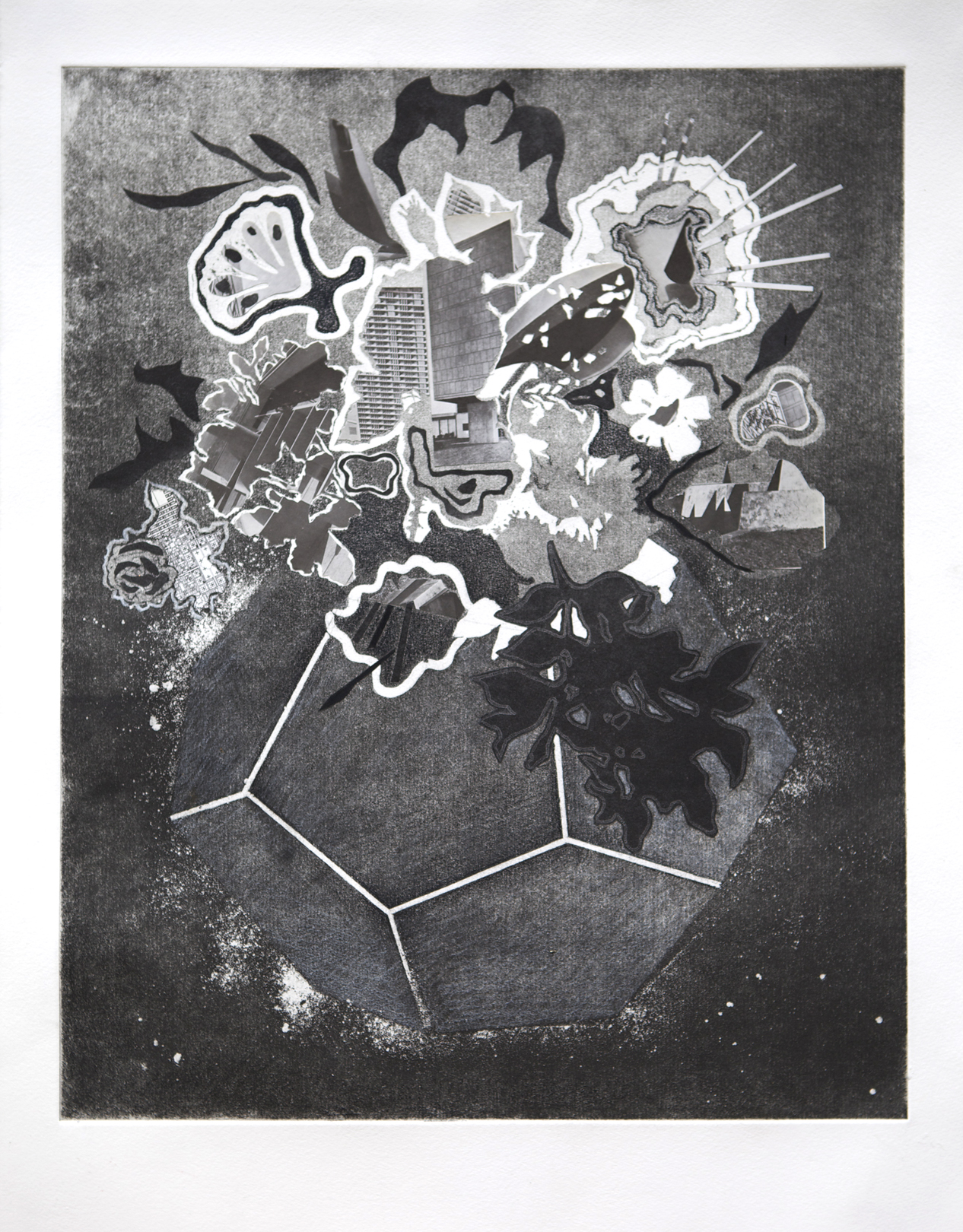 Composition #1124  (2014), Intaglio, collage and wax pencil on paper, Image 15 3/4 x19 3/4 in., sheet 24 x 20 in.