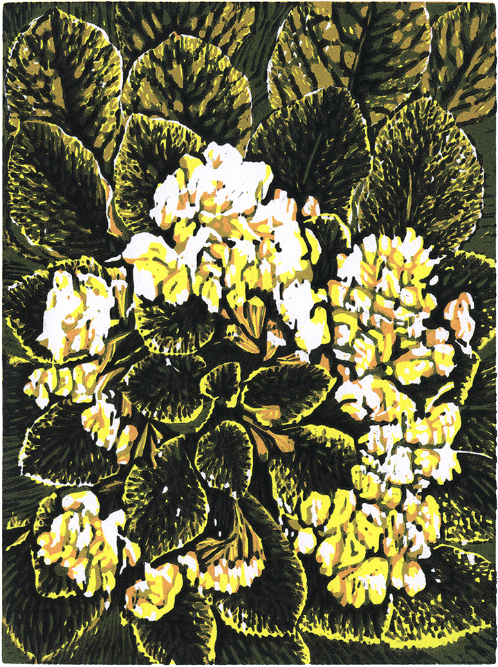 White flowers  (2019) Woodcut, Edition size: 7, Image size 12 x 9 in. Paper size 20 x 15 in.