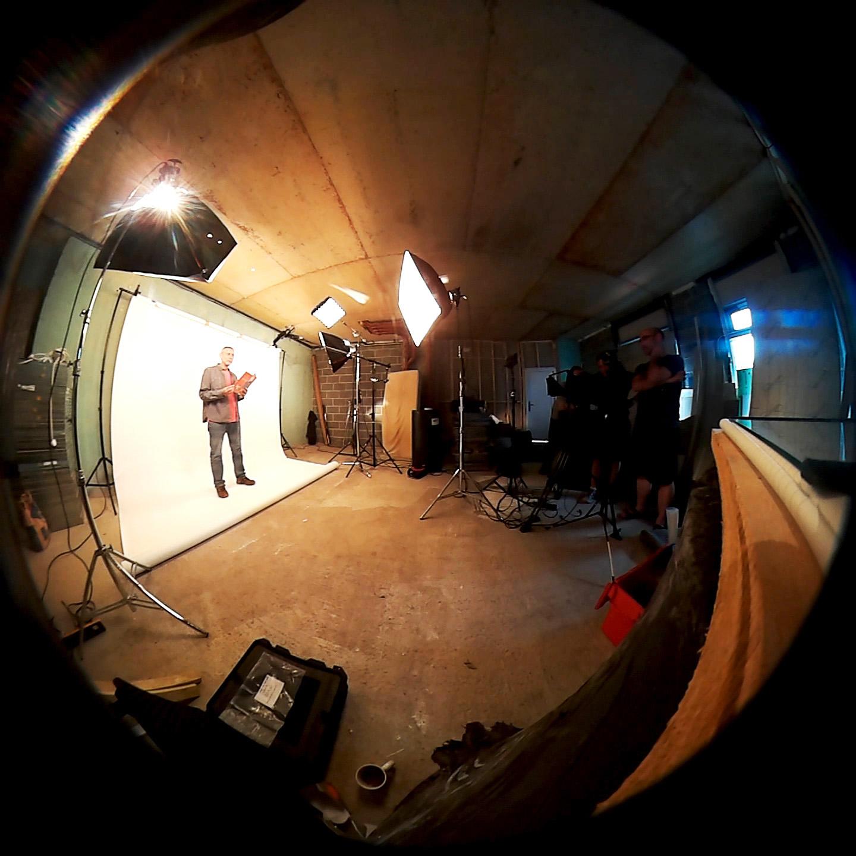 Michael Rosen being filmed in our studio.