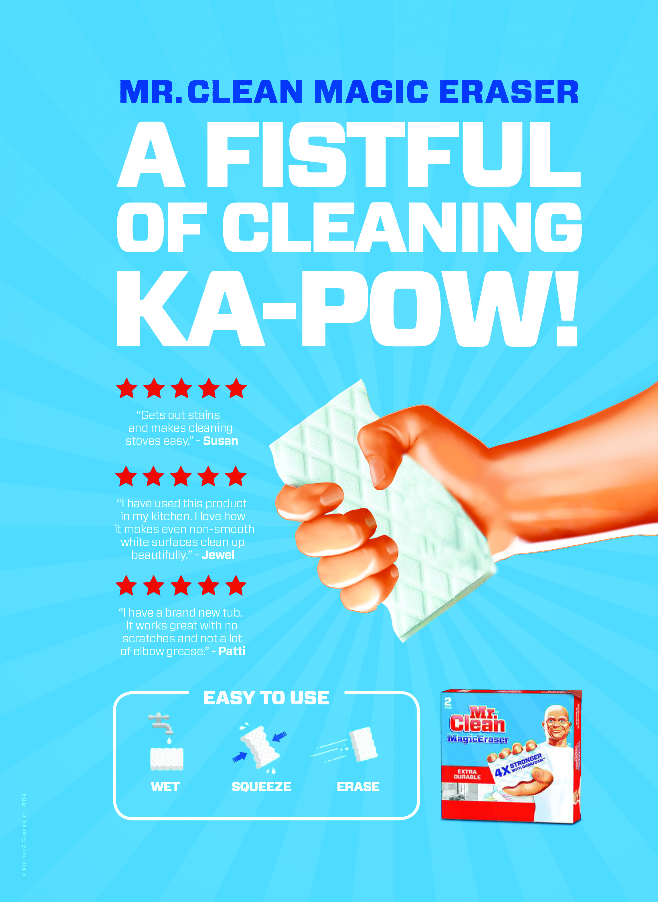 Mr Clean Advertorial - Featured in Good House Keeping Magazine, this Print ad, combines informational advertising a punchy tone of voice and an infographic visual approach to convey all of our benefits.