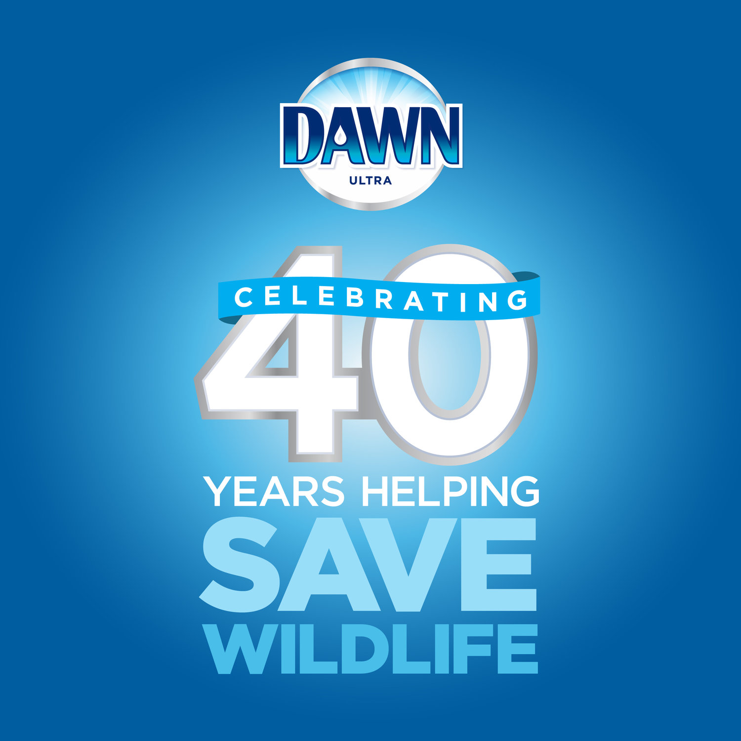 Celebratory logo - This logo was used across all advertising mediums to spread awareness of Dawns 40th year helping save wildlife.