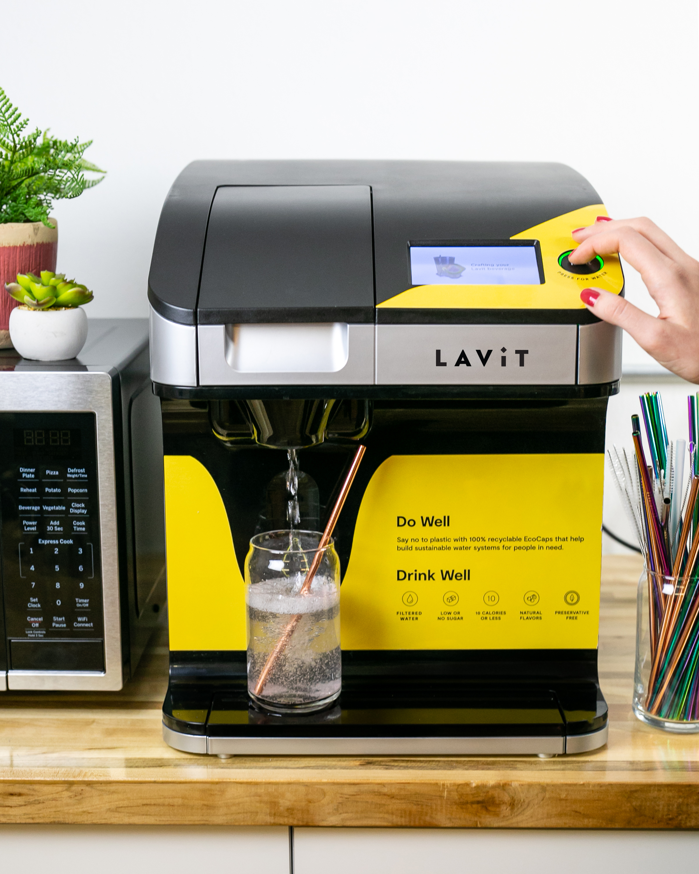 OurMachine - Lavit is a machine that sits atop your counter and provides still & sparkling water that's been filtered & chilled. Plus tons of other beverage options.And that's it. No hidden equipment, no weird requirements.